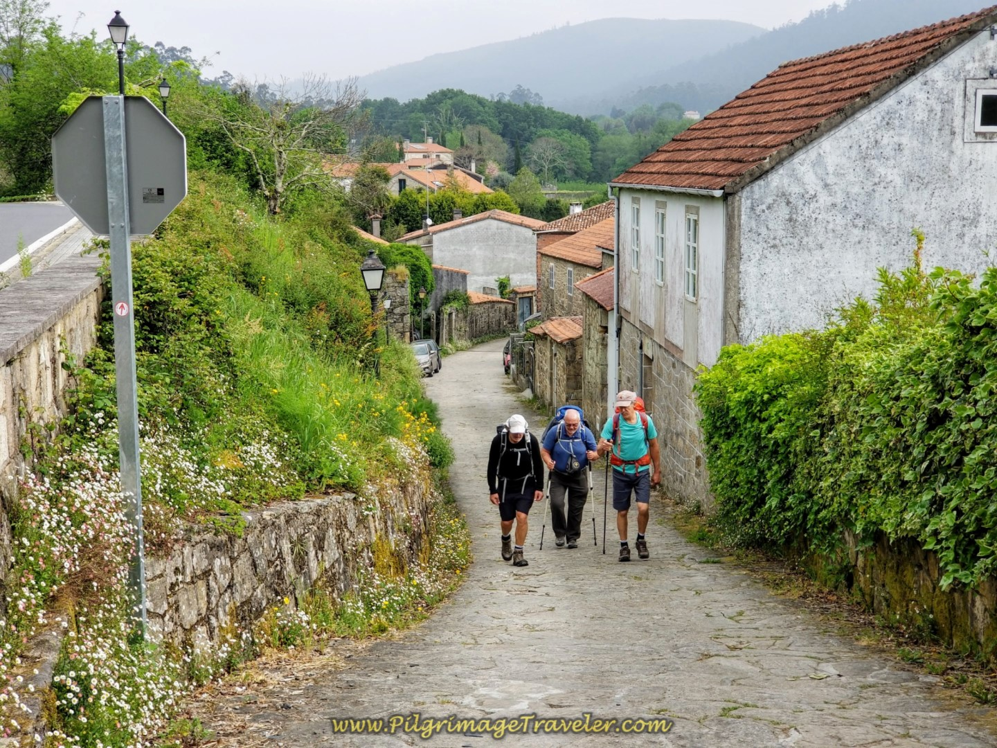 Steep Hill Climb Begins through Augapesada on day one of the Camino Fisterra