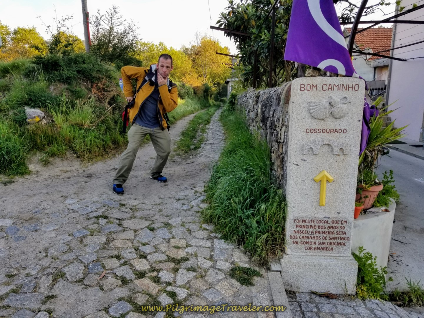 Matt at the Waymark to Cossourado on day nineteen on the Central Route of the Portuguese Camino