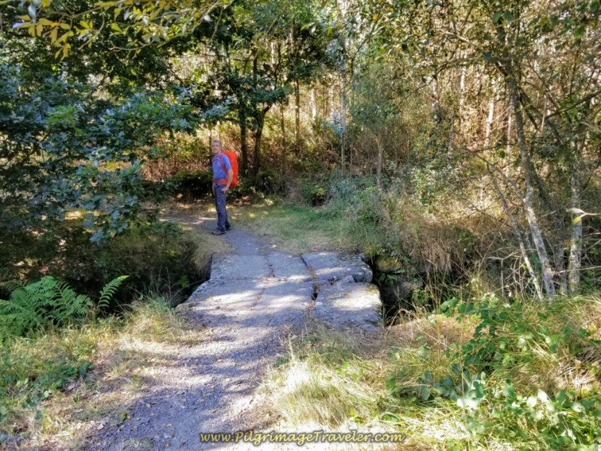 Descend to Stream Along the Path on day three of the Camino Finisterre to Muxía