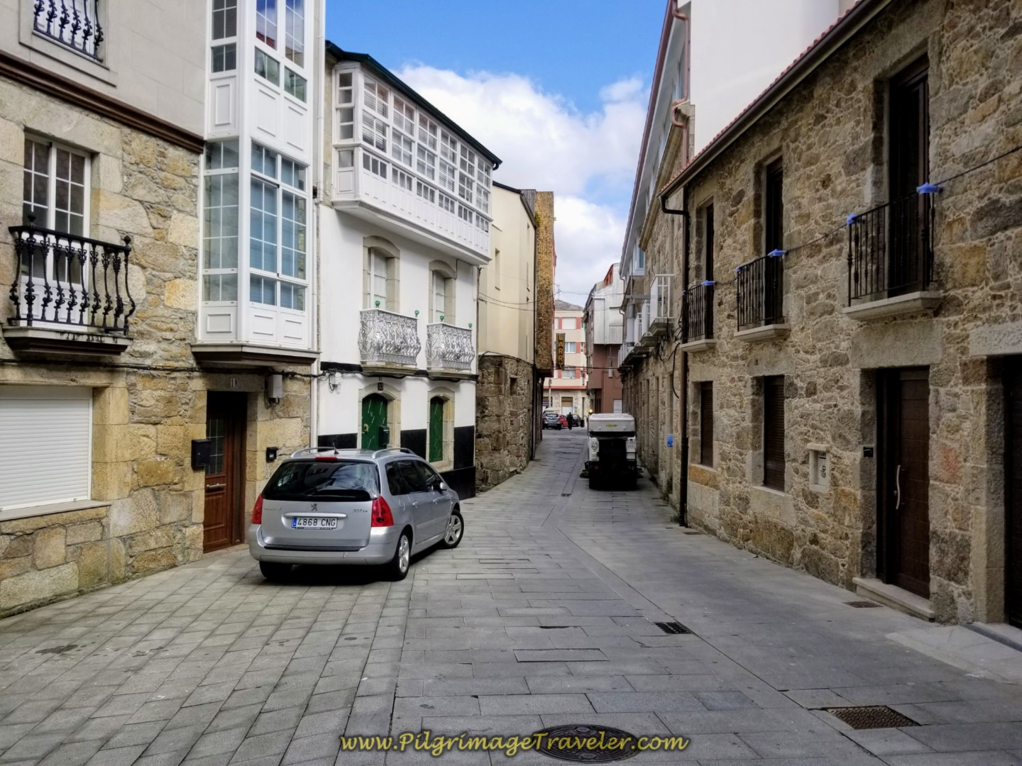 Turn Left Onto the Rúa Magdalena on day three of the Camino Finisterre