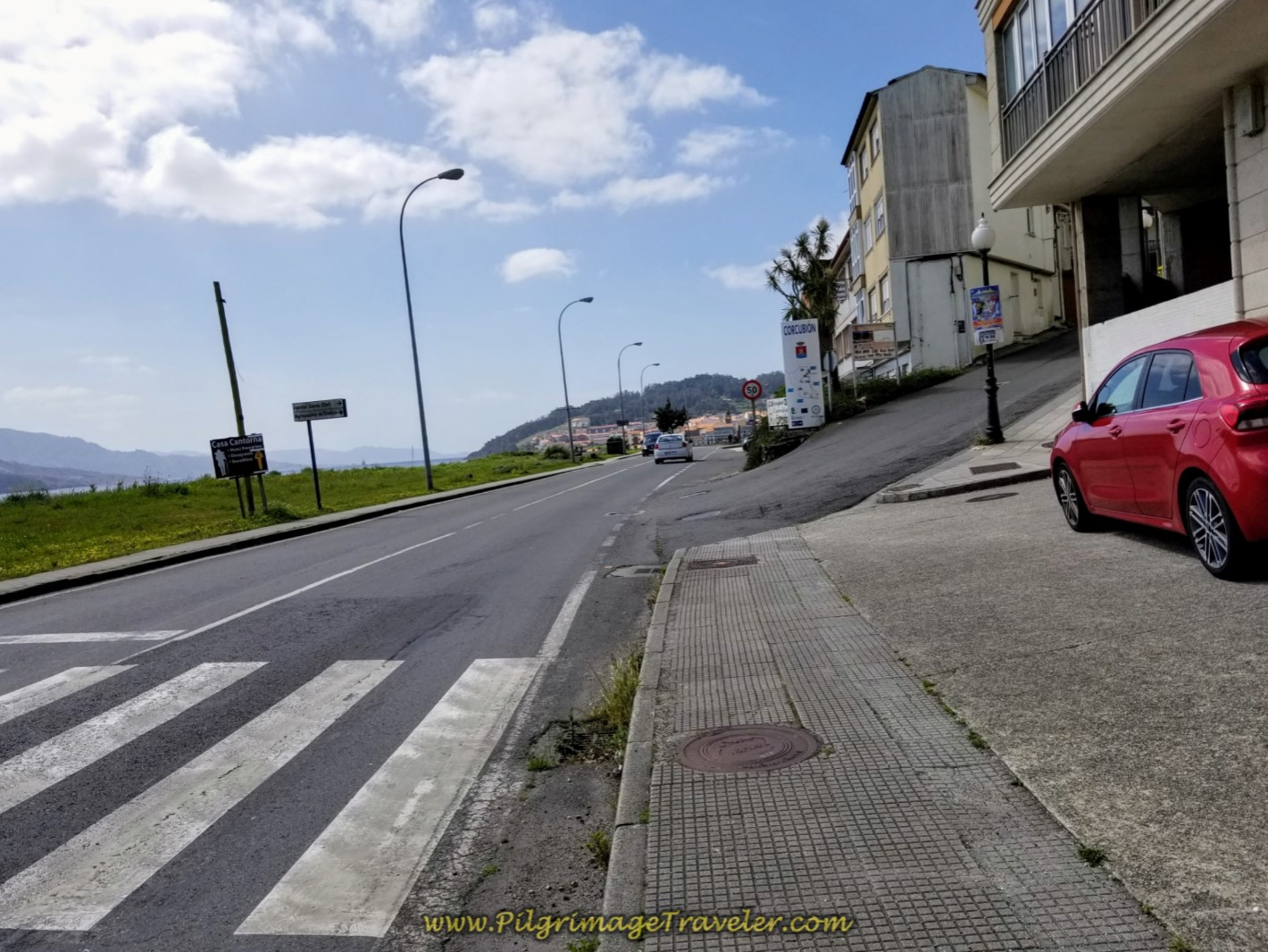 Turn Right Up Hill in Corcubión at this Intersection