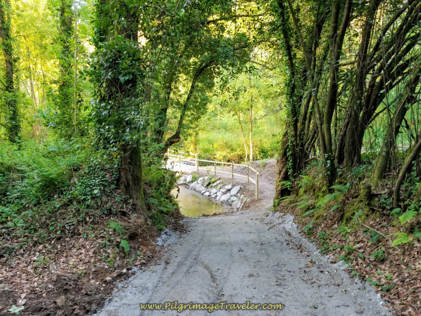 Descend on Improved Path to the Ría da Brexa on day two of the La Coruña Arm of the Camino Inglés
