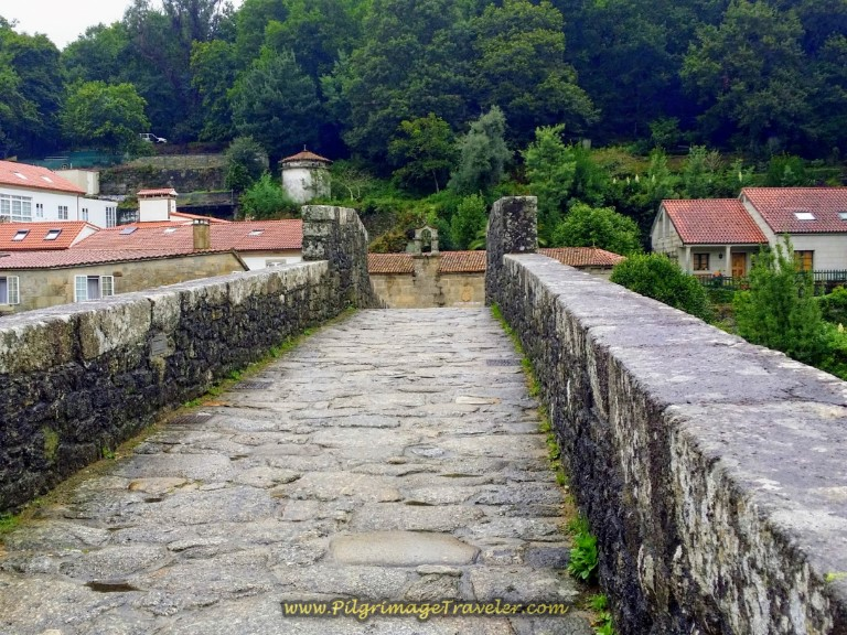 Crossing the Ponte Maceira on day one of the Camino Fisterra