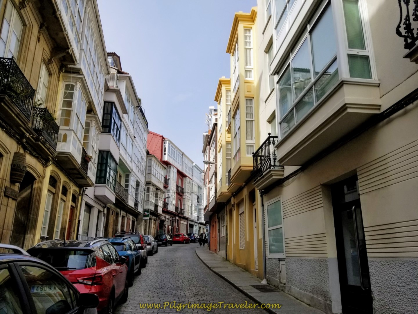 Onward Through Ferrol on the Calle San Francisco on day one of the Camino Inglés