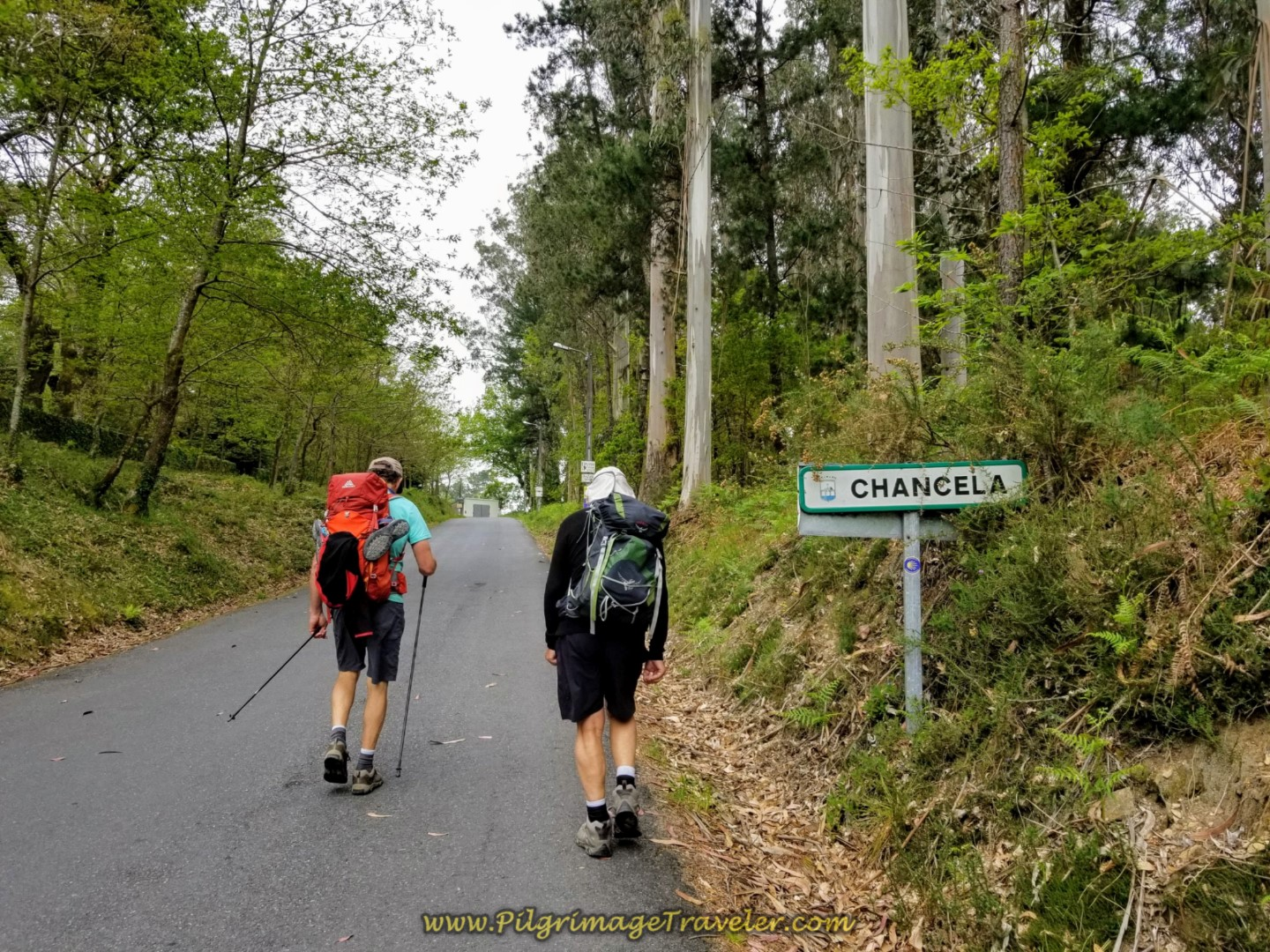 Rich and Rob Continue Uphill Entering Chancela on day one of the Finisterre Way