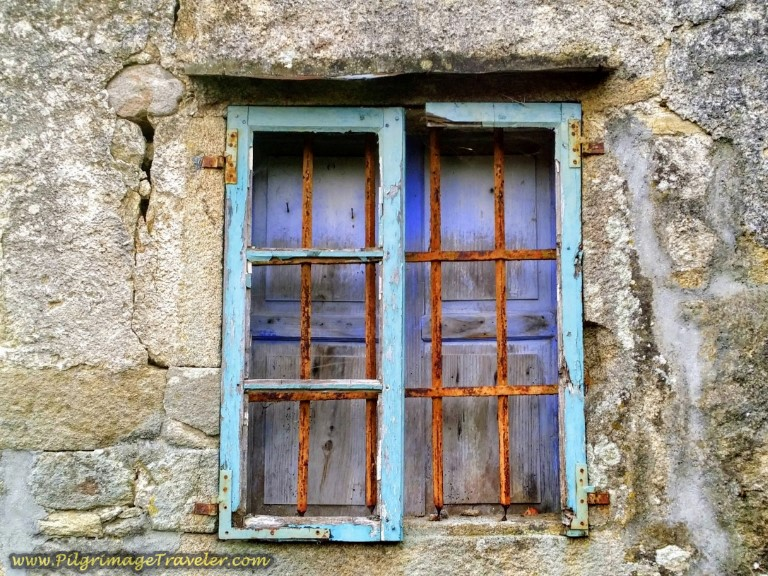 Painted Galician Window, Spain on day one of the Finisterre Way