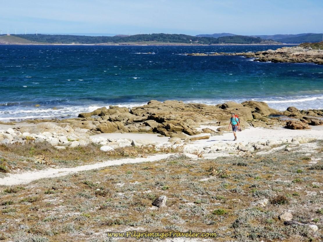 Rich Walks on Espiñeirido Beach on day three of the Camino Finisterre to Muxía