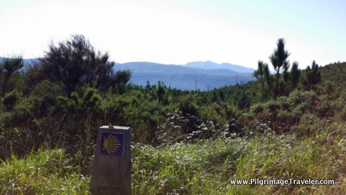 Camino Waymark and Monte Pindo to the South, Camino Finisterre, Spain