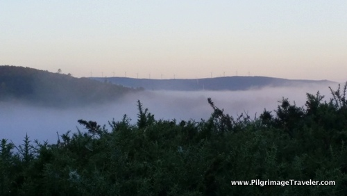 Windmills and Mist on the Finisterre Way, from Olveiroa, Spain