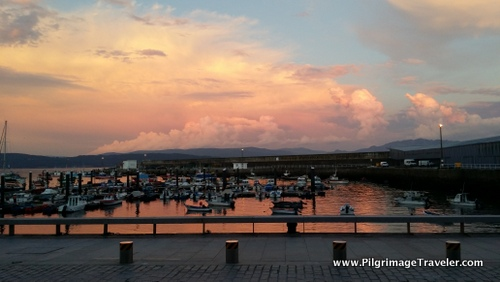 Sunset in the Fisterra Harbour, Galicia, Spain