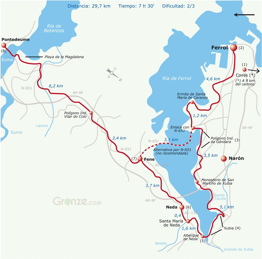 Route Map of Day One, Camino Inglés, Ferrol to Pontedeume, Spain