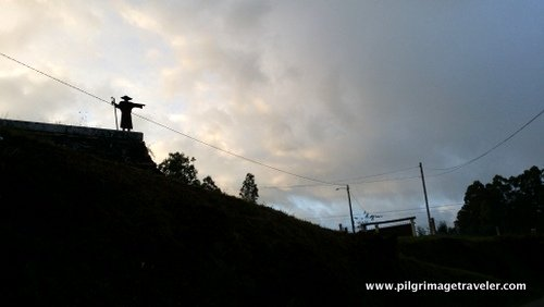 Pilgrim Statue Points the Way on the Camino Inglés, Spain