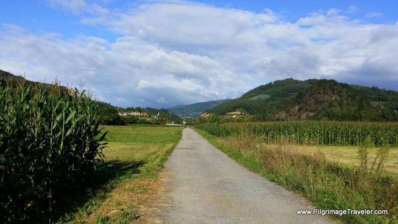 Long Straight Road Towards Quintana, on the Primitive Way, Asturias, Spain
