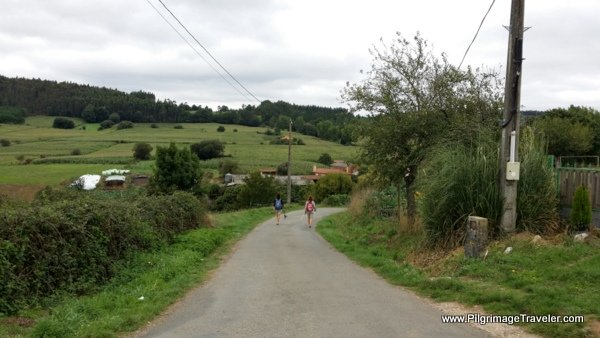 Walking the Country Road thru Pedrido towards O Rio on the Camino Frances