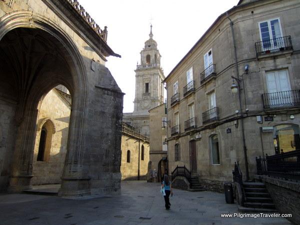 Elle Walking in the Praza de Santa María