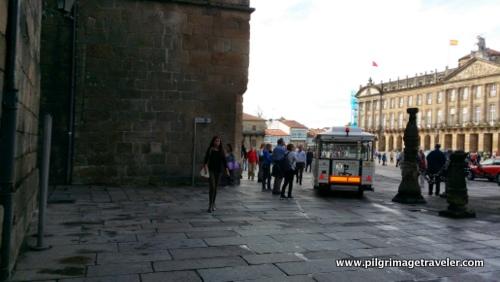 Entering the Praza do Obradoiro, Santiago de Compostela, Spain